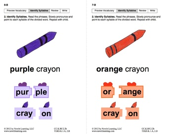 Identify Syllables 1: Lesson 1, Book 2 (Newitt Prereading Series)