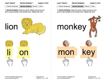 Identify Syllables 1: Lesson 4, Book 2 (Newitt Prereading Series)