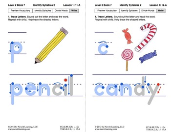 Identify Syllables 2: Lesson 1, Book 7 (Newitt Prereading Series)