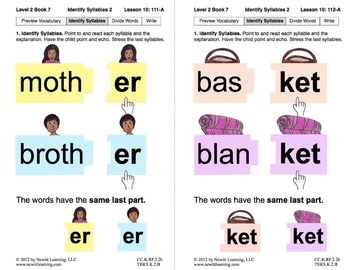 Identify Syllables 2: Lesson 10, Book 7 (Newitt Prereading Series)