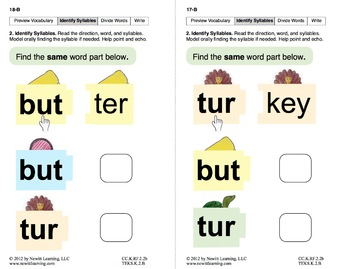 Identify Syllables 2: Lesson 2, Book 7 (Newitt Prereading Series)