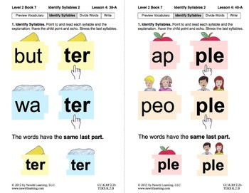 Identify Syllables 2: Lesson 4, Book 7 (Newitt Prereading Series)