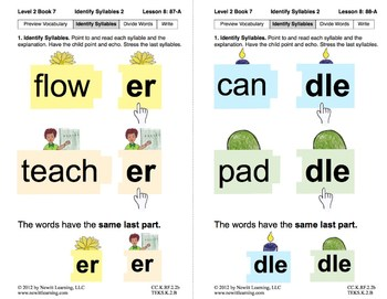 Identify Syllables 2: Lesson 8, Book 7 (Newitt Prereading Series)