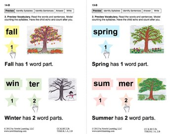 Identify Syllables 3: Lesson 2, Book 9 (Newitt Decoding Series)
