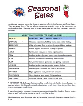 Identify Timing Of Seasonal Sales Lesson