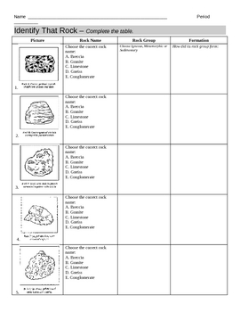 identify types of rocks worksheet by jjms teachers pay teachers. Black Bedroom Furniture Sets. Home Design Ideas