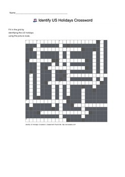 Identify US Holidays by Picture - Crossword