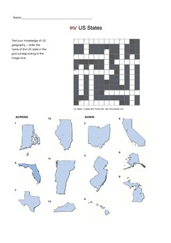 Identify US States by Picture - Crossword