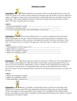 Identify Variables Worksheets