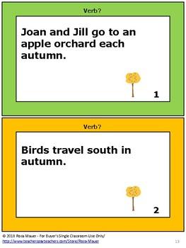 Identify Verbs Autumn Themed Activity