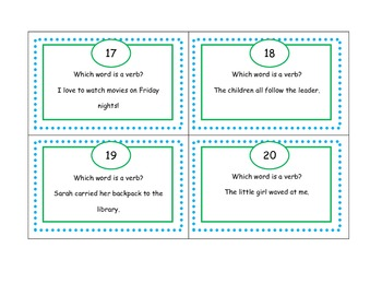 Identify Verbs Scoot Game (task cards)