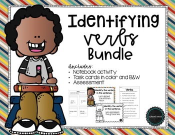 Identify Verbs Task Cards and Activity Bundle