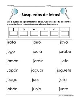 Identify and Color Letters Spanish- Busqueda y Colorear las letras en español