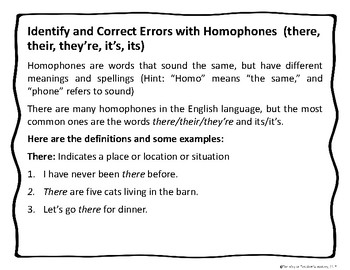 Identify and Correct Errors with Homophones (there, their, they're, it's, its)