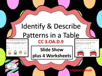 Identify and Describe Patterns in a Table--CC3.OA.D.9