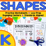 Kindergarten 2D and 3D shapes (KGA1, KGA2, KGA3)