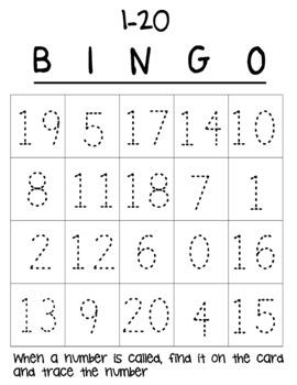 Identify and Write 0-20 Bingo