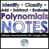 Identify, classify, add, subtract, multiply, evaluate poly