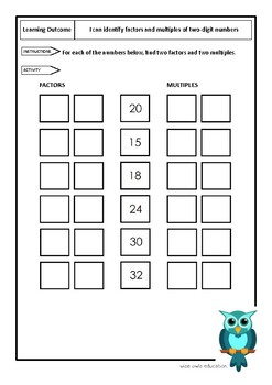 Identify factors and multiples of two-digit numbers (worksheet)