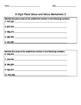 6 Digit Place Value and Value Packet_10 Worksheets