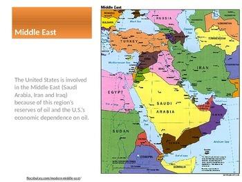 Identify regions of United States political involvement TpT