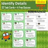 Identify the Details of Main Ideas- Task Cards, Grades 1-2, CCSS RI1.2 & 2.2