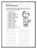 Periodic Table - Identify the Element Handout