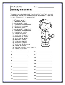 periodic table identify the element handout - Periodic Table Of Elements Handout