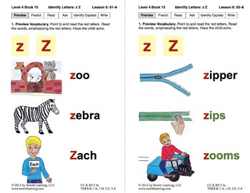 Identify the Letter Z: Lesson 6, Book 15 (Newitt Decoding Series)