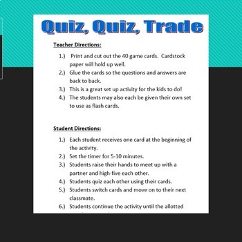 Identify the Parts of an Expression Quiz, Quiz, Trade
