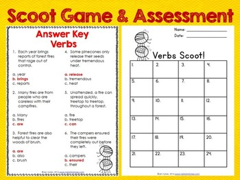 Verb Task Cards, Scoot Game, and Quick Assessment