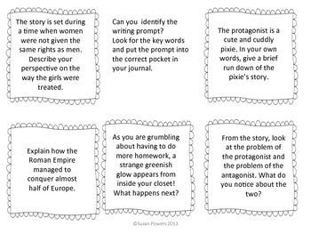 Identify the Writing Prompt Interactive Journal Activity