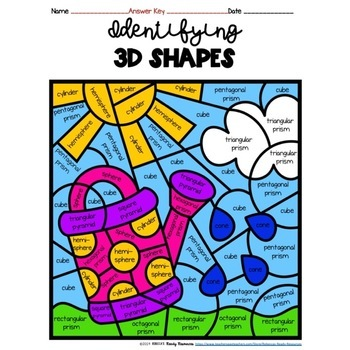 Identifying 3D Shapes Color by Code-Spring Theme