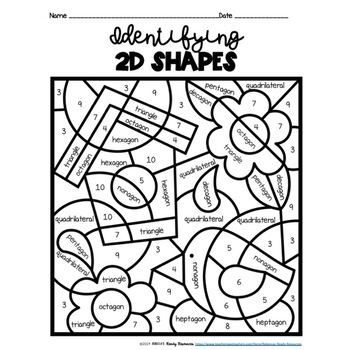 Identifying 2D Shapes Color by Code-Spring Theme