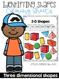 Identifying 3D Shapes Coloring Sheets