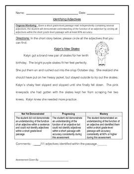 Identifying Adjectives 3 - IEP Progress Monitoring