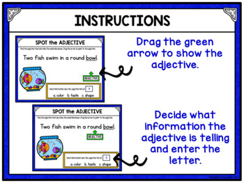 Identifying Adjectives Grammar Activity for Google Drive and Google Classroom