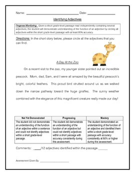 Identifying Adjectives 1 - IEP Goal Progress Monitoring