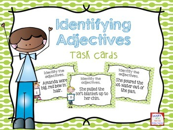 Identifying Adjectives Task Cards- Color & B&W