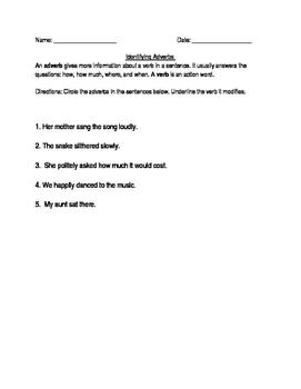 Identifying Adverbs
