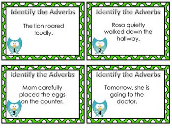 Identifying Adverbs Task Cards