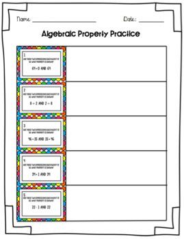 Identifying Algebraic Properties Task Cards and Worksheet ...