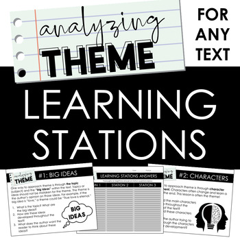 Analyzing Theme Learning Stations: Activity for ANY TEXT - DISTANCE LEARNING