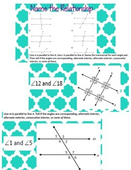 Identifying Angle Pairs in Parallel Lines and Transversals