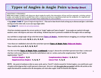 Identifying Angle Types and Angle Pairs
