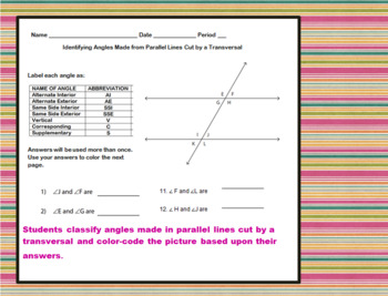 Identifying Angles in Parallel Lines Coloring Activity