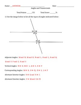 Identifying Angles on a Transversal