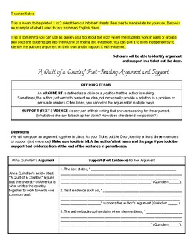 Identifying Argument and Support (ELA 9-10)