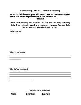 Identifying Arrays Workshop Worksheet