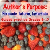 Identifying Author's Purpose: Great Test Prep/Reading Comp